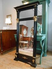 19th Century Continental Biedermeier Ebonised & Gilt Mounted Pier Mirror, C1850