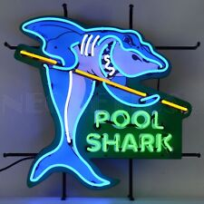 """Pool Shark Man Cave Beer Bar Pub Restaurant Neon Sign With Backing 24"""" by 24"""""""