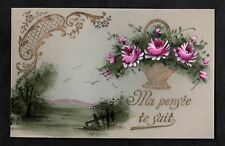 C1916 French plastic card - Basket of flowers & views of the countryside