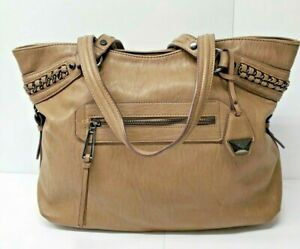 Jessica Simpson Man Made Leather Brown Satchel Purse Braided Detail