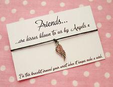 Amigos besos soplado por los ángeles ala encanto deseo Amistad Pulsera & envolvente