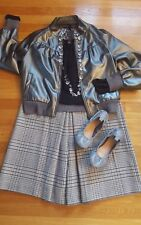 Banana Republic Size 8 Culottes L Sweater Faux Leather Jacket 8 Shoes & Necklace