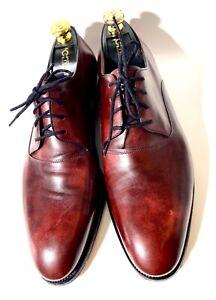 $2200 John Lobb Ashton Burgundy Patina Leather Shoes Size 44, UK-10EE, US-11