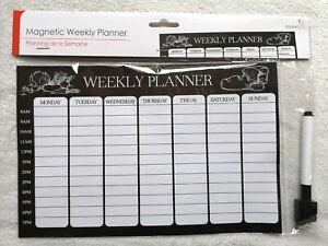 Diet Magnetic Fridge Board Weekly Meal Planner Diary Pad List Chart Food Pen EC