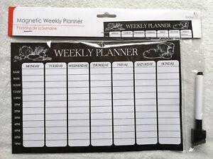 Diet Magnetic Fridge Board Weekly Meal Planner Diary Pad List Chart Food Pen EC