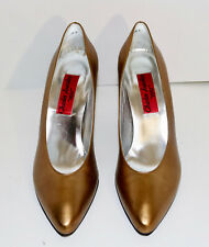 Charles Jourdan 1921 vintage metallic copper high heel shoes 7