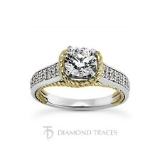 14k Gold Rope Pave Rows Ring 3.5mm 1.64ct F-Si1 Ideal Round Agi Genuine Diamonds