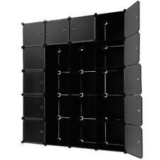 Étagères Armoire Noire Rangement Plastique 20 Casiers 2 Tringles Système Clip