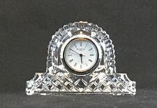 WATERFORD IRISH HAND CUT CRYSTAL SMALL QUARTZ MANTEL CLOCK SILVER