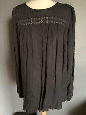 Per Una Black Smock Crochet Long Sleeve Top Size 16/18 Boho Hippie Crinkle