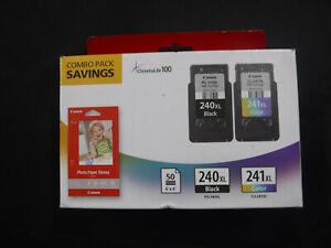 Genuine Canon PG-240XL Black CL-241XL Color Ink 50 Pk Paper Set New Box