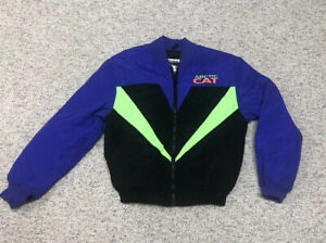 Vintage Womens Arctic Cat Snowmobiling Coat M 90s Neon Blue/Yellow Made In USA