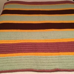 """BEAUTIFUL HAND CROCHETED AFGHAN! GORGEOUS COLORS  62"""" X 50"""""""