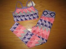 NWT Gymboree Gymgo 5-6 Set Purple Pink Geo Sports Bra and Active Leggings