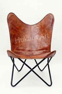 Brown Handmade, Butterfly Leather Chair, Home Relax Arm Living Room, Bedroom
