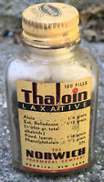 Vintage Norwich Thaloin Laxative Medical Advertising Empty Bottle