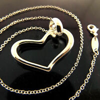 NECKLACE CHAIN GENUINE REAL 925 STERLING SILVER S/F HEART CHARM PENDANT DESIGN