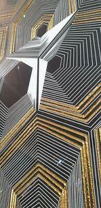 Gold & Black Decor Porcelain Tiles 600 x 600 x 10mm