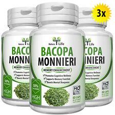 180 Natural BACOPA MONNIERI EXTRACT Brahmi Mental Focus Memory Booster Capsules