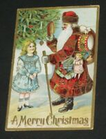 Christmas Santa Claus POSTCARD Tree Candles Doll Toys Embossed Antique (PC3)