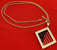 Swarovski Crystal Abacus Necklace Signed Gold Tone 20-1418