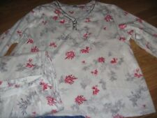 WOMENS PAJAMAS SIZE 2X XXLARGE GREY&RED FLORAL BRUSHED MICROFLEECE NEW