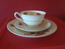 VTG Bavaria V 3 Piece China Tea Cup, Saucer & Plate Set Orange Flowers Gold trim