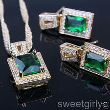 Womens 24k Yellow Gold Filled Emerald Pendant Necklace Earrings Jewelry Set