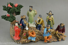 Collectible Decor Old Jingdezhen Porcelain Carve 8 immortal God pine tree Statue