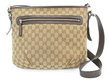 Authentic GUCCI Brown GG Canvas and Leather Shoulder Bag Purse #37169