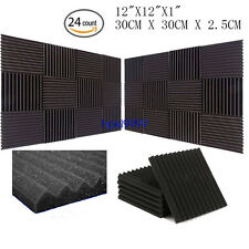 "12"" X 12"" X 1"" (24PCS)Acoustic Foam Panel Wedge Studio Soundproofing Wall Tiles"
