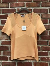 MOSCHINO Cheap And Chic Perforated Peach Coral Blouse Top Shirt 42 US 8 M NEW*
