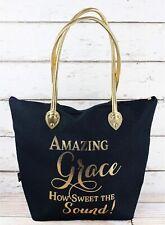 "Metallic Gold ""Amazing Grace""  20"" Zipper Top Canvas Christian Tote Bag Purse"