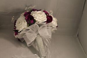 CADBURY'S PURPLE WHITE or IVORY BRIDAL BOUQUET BRIDESMAIDS BUTTONHOLES