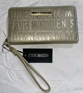 STEVE MADDEN WALLET WRISTLET METALIC GOLD STAMPED LOGO VERY CLASSY!!