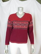 GAP M 100% Lambswool Sporty Print Medium Thick Red Burgundy Pullover A++ Sweater