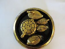 Turtle Figures Lacquer Gold Leaf Jewelry Box Gift Set