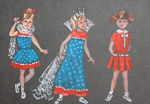 Vintage Childs Theatre costumes design gouache painting