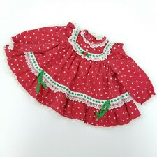 Vintage Baby Togs Baby Girls 12M Red Tulip Print Ruffles & Lace Collar Dress