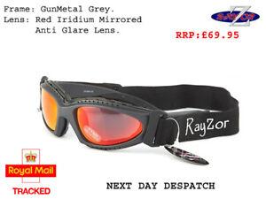 RAYZOR 2n1 SKI GOGGLES SUNGLASSES UV400 Grey Frame Red Mirrored Lens RRP£69