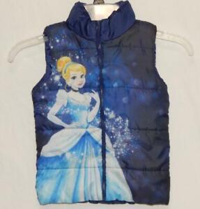 """DISNEY Kids Girls """"Princess Cinderella"""" Navy Blue Graphic Puffer Vest Size 4"""