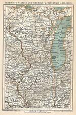 B0315 U.S.A. - Wisconsin - Illinois - Carta geografica d'epoca - 1903 Old map