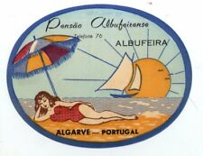 RARE Hotel luggage label Portugal Albufeirense Algarve pretty lady swimsuit #735