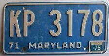 Maryland 1975 License Plate NICE QUALITY # KP 3178