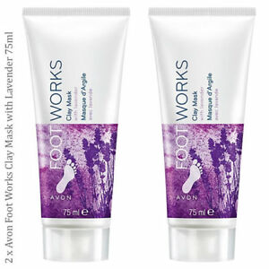 2 x Avon Foot Works Clay Mask with Lavender // Exfoliating Dry Footworks Feet