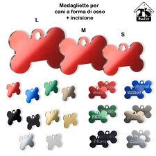 Medaglietta per cani a forma di osso + incisione personalizzata gratis+ anellino