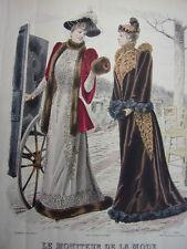 """25/ GRAVURE DE MODE """" Moniteur de la Mode Paris 1891 """".   Grand format 36x26"""