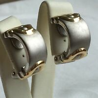 Clip On Earrings Vintage retro 1980s Gold Silver Coloured Half Pipe Party prom