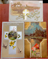 3 ANTIQUE POSTCARDS CHRISTIAN CROSS EASTER GREETING THEMES USED EMBOSSED c. 1910