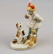 Russische Porzellanfigur Mädchen mit Hund Porzellan Russland